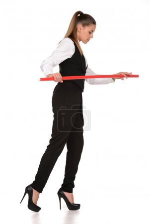 Photo for Business woman walking along a tightrope, isolated on a white background. - Royalty Free Image