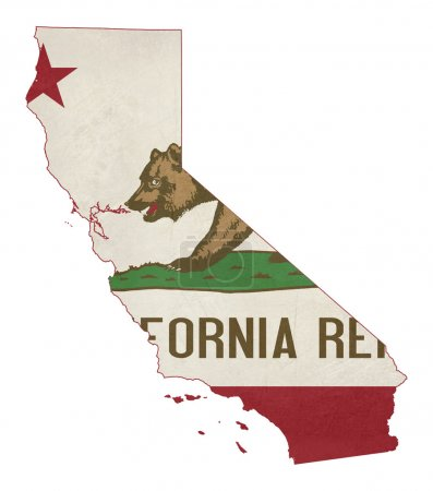 Grunge state of California flag map