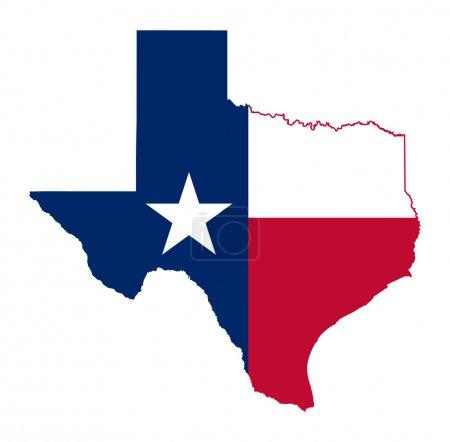 Photo pour Carte du drapeau de l'État du Texas isolée sur fond blanc, États-Unis - image libre de droit