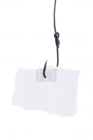 paper on a fishing hook