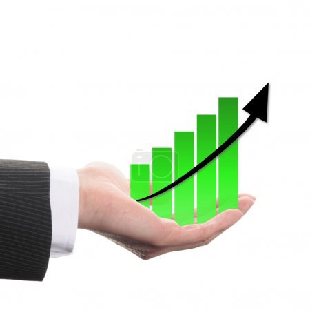 Photo for Diagram with green columns and black arrow on white background - Royalty Free Image