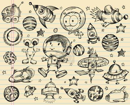 Illustration for Outer Space Doodle Sketch Vector Illustration Set - Royalty Free Image