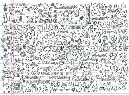 Illustration pour Éléments de conception illustration jeu de Doodle - image libre de droit
