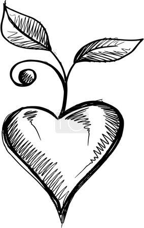 Illustration pour Valentines coeur amour croquis Doodle vecteur - image libre de droit