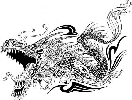 Illustration for Dragon Doodle Sketch Tattoo Vector - Royalty Free Image