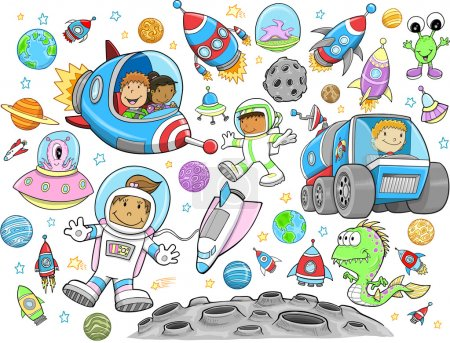 Illustration for Cute Outer Space Vector Illustration Design Vector Set - Royalty Free Image