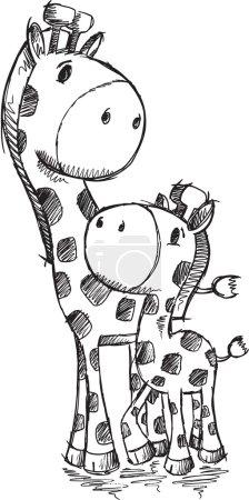 Sketch Doodle Cute Safari Giraffes Vector