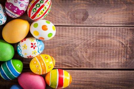 Photo for Easter eggs on wooden background - Royalty Free Image