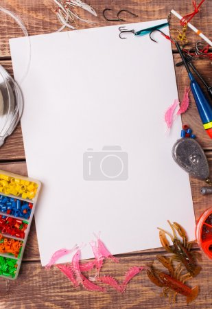 Photo for Fishing gear on wooden boards with empty place for an inscription - Royalty Free Image