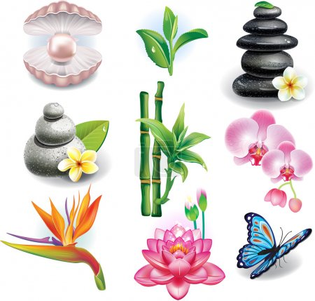 Illustration for Set of SPA symbols - Royalty Free Image