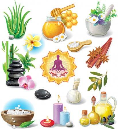 Illustration for Set of spa treatment symbols - Royalty Free Image