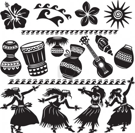 Illustration for Hawaiian Set with dancers and musical instruments - Royalty Free Image