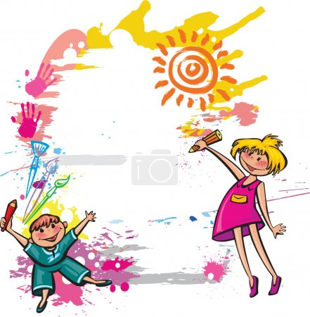 Illustration for Colorful banner with children drawing - Royalty Free Image