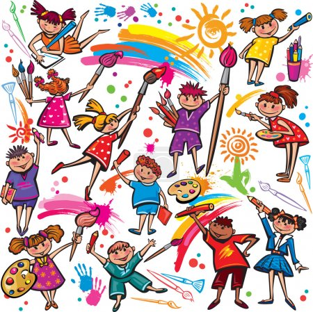Illustration for Happy children drawing with brush and colorful crayons - Royalty Free Image