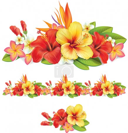 Garland of ropical flowers
