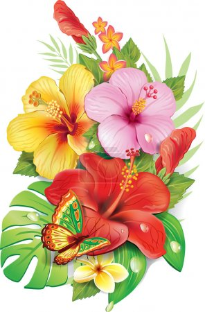 Illustration for Bouquet of tropical flowers - Royalty Free Image