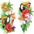 Tropical flowers, toucan and a butterflies...