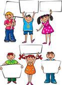 Kids holding blank placard boards
