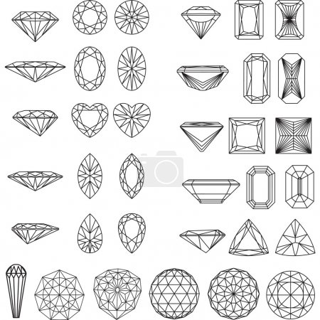 Set of shapes of diamond in wireframe