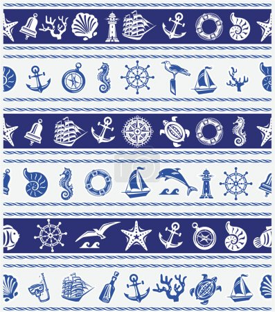 Illustration for Borders with Nautical and sea symbols - Royalty Free Image