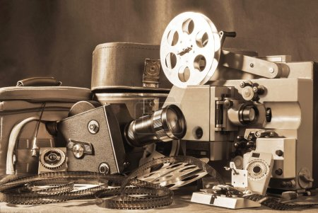Photo for Old camera and overhead projector, film. - Royalty Free Image