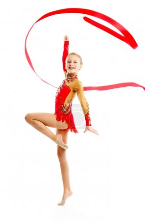 Gymnast with ribbon