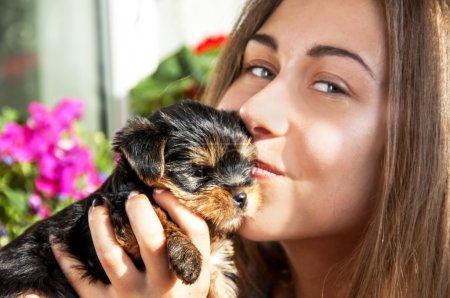 Young girl kiss cute puppy