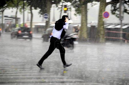 Unning man in the rain