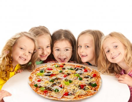 Happy kids with big pizza