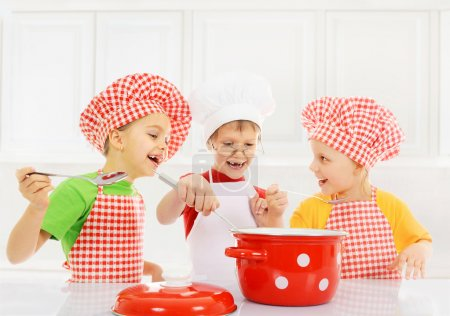 Funny children cooking