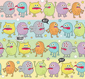 Cute monsters seamless background with stars Vector pattern with space aliens