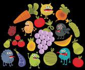 Постер Овощи и фрукты с микробами