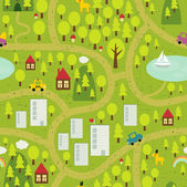 Cartoon map seamless pattern of small town and countryside Vector landscape