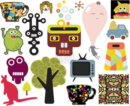Illustration for Mix of different vector images and icons. - Royalty Free Image