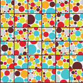 Seamless cell background with colorful dots Vector illustration