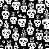 Funny skull seamless pattern with flowers