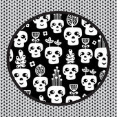 Funny skull pattern with flowers