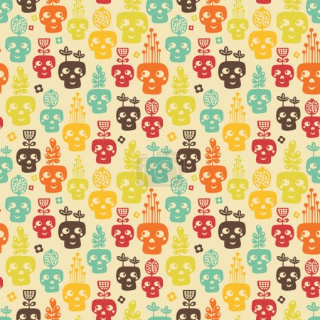 Funny skull seamless.