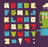 Alphabet letters in retro style
