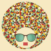 Black head woman with strange hair