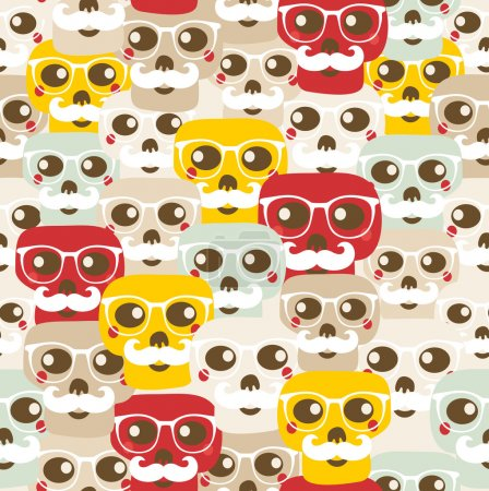 Illustration for Seamless pattern with funny skulls. Vector illustration. - Royalty Free Image