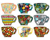 Collection of tea cups with different patterns