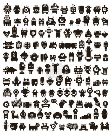 Mega set of small monsters and robots.