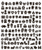 Mega set of small monsters and robots Vector collection of space creatures