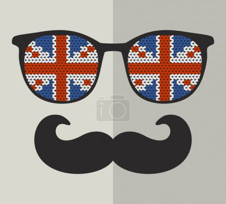 Retro sunglasses with british flags for hipster.