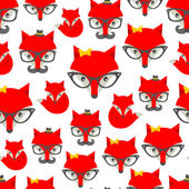 Seamless pattern with hipster fox Vector background with cute animals in retro style