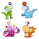 Cute sport baby dinos playing with a ball