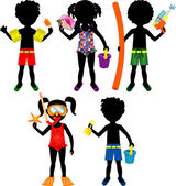 Raster version Illustration of 5 different summer kids dressed for beach or pool