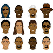 Vector Illustration of 12 different Black and Mixed Men Faces