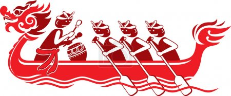 Chinese dragon boat illustration